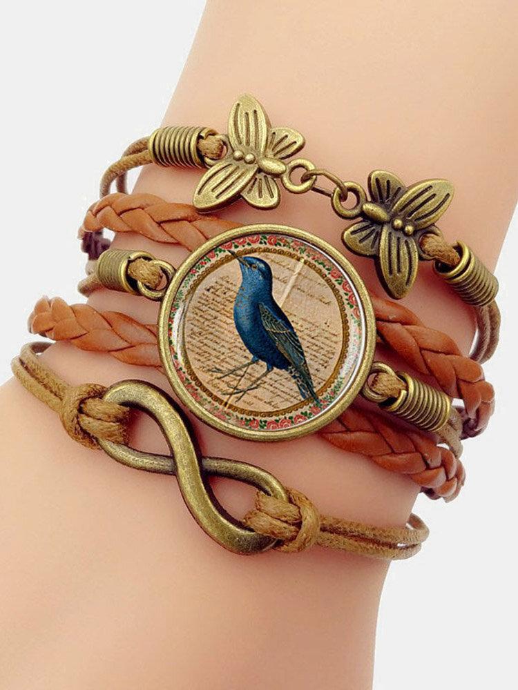 Vintage Wwoven Printed Bird Women Bracelet Multilayer Butterfly Pendant Bracelet