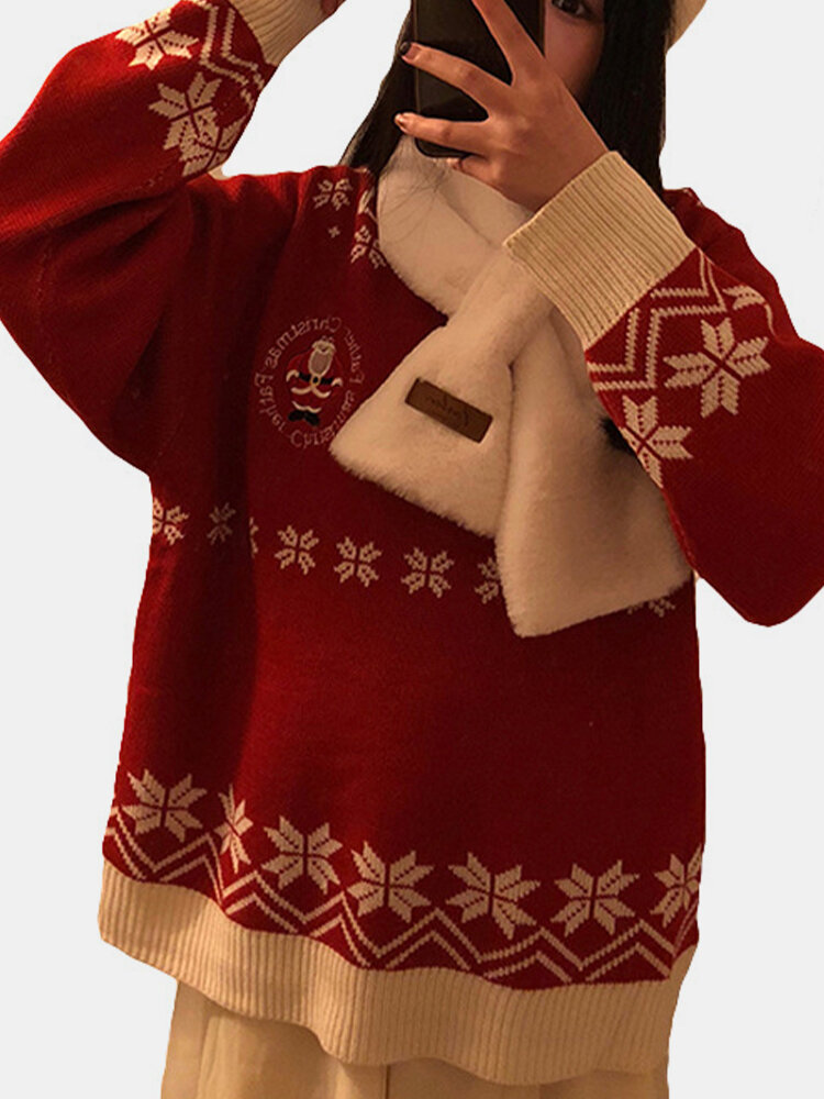 Santa Claus Christmas Snowflake Print Casual Sweater Women, newchic  - buy with discount