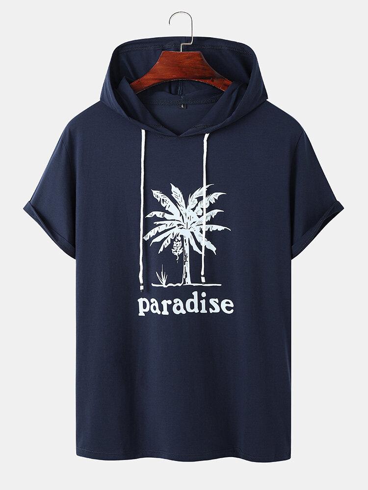 Mens Banana Tree Print Preppy Cotton Short Sleeve Hooded T-Shirts