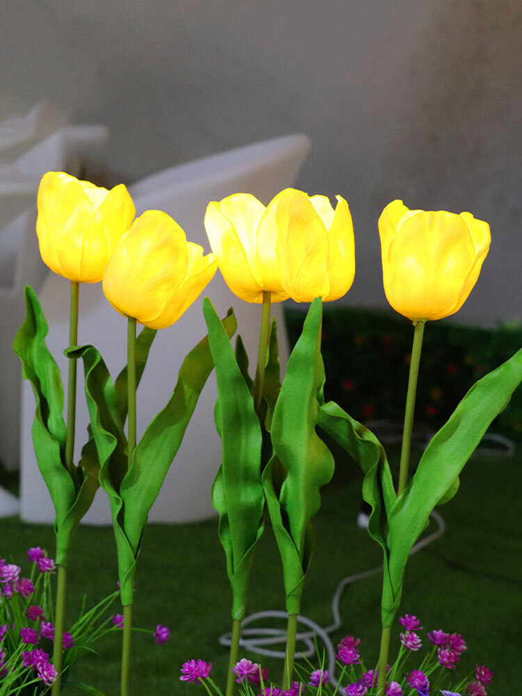 Solar Power LED Tulip Flower Light Energy Saving Lawn Lamps Outdoor Garden Path Yard Decoration Landscape Lamp