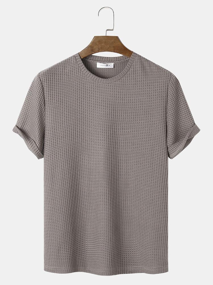 Mens Plain Texture Knitted Waffle Short Sleeve T-Shirt