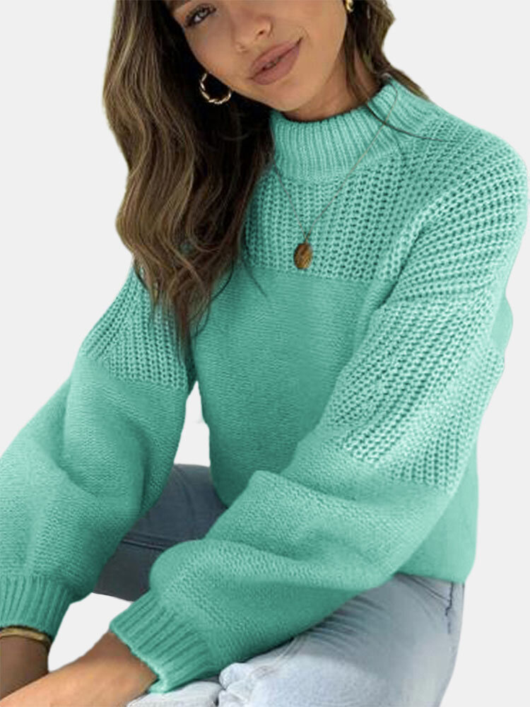 Solid Color Patchwork Long Sleeve Half-collar Sweater
