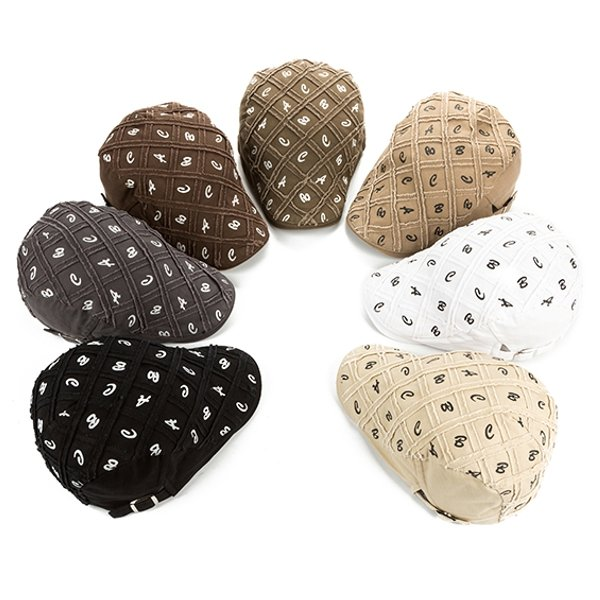Men Women Cotton Grid Beret Cap Newsboy Adjustable Cabbie Hat