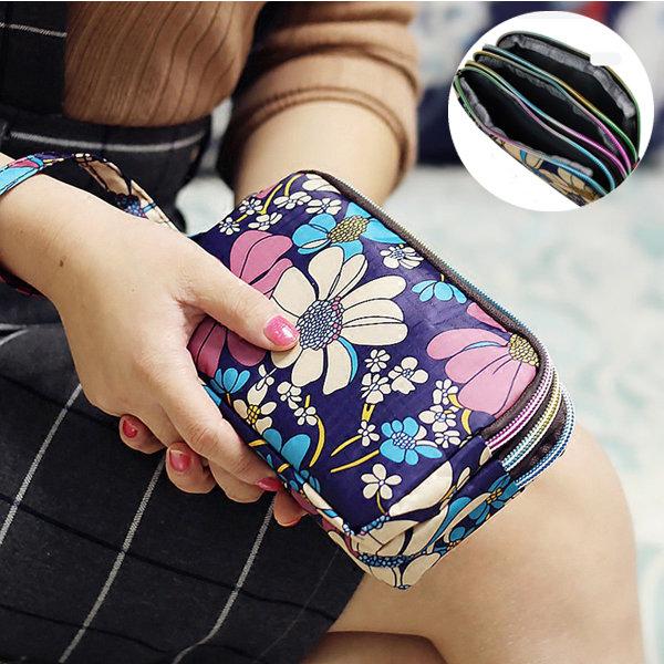 Women Waterproof Nylon Patchwork Three Zipper 5.5 inches Phone Bag Flower Clutch Bag Coin Purse