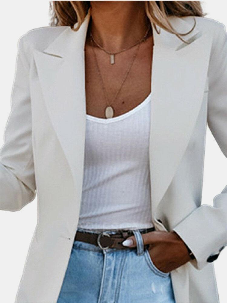 Solid Color Long Sleeve Lapel Plus Size Button Jackets