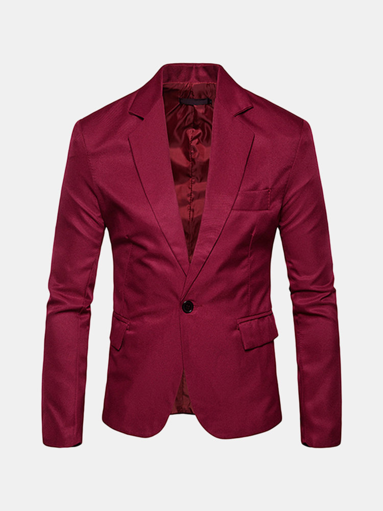 Notch Collar Solid Color Slim Fit One Button Single Breasted Vintage Suit for Men