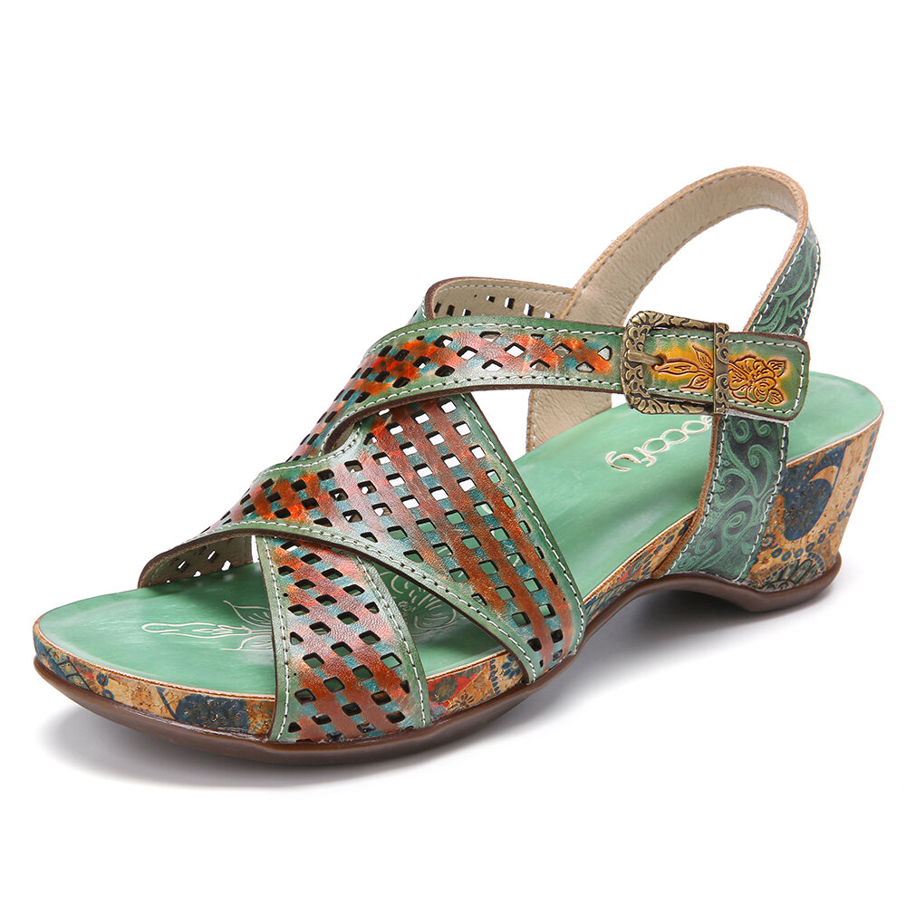 SOCOFY Cross Strap Cutout Slingback Open Toe Breathable Comfy Casual Wedge Sandals