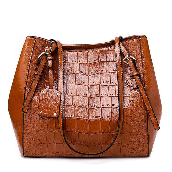 Women Crocodile Pattern Oil Wax Bucket Bags Solid Casual Shoulder Bags