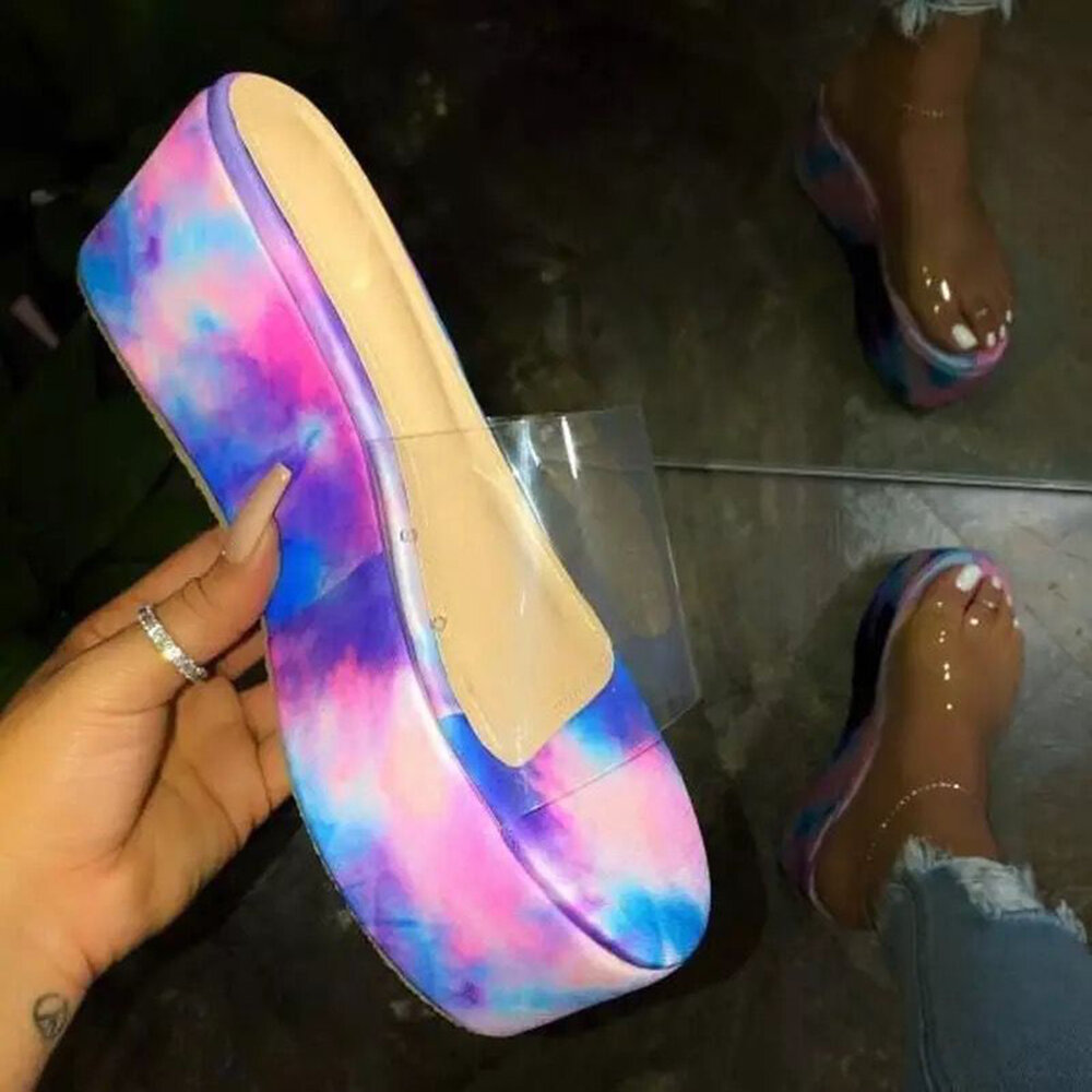Image of Women Casual Colorful Transparent Open Toe Platform Slide Sandals