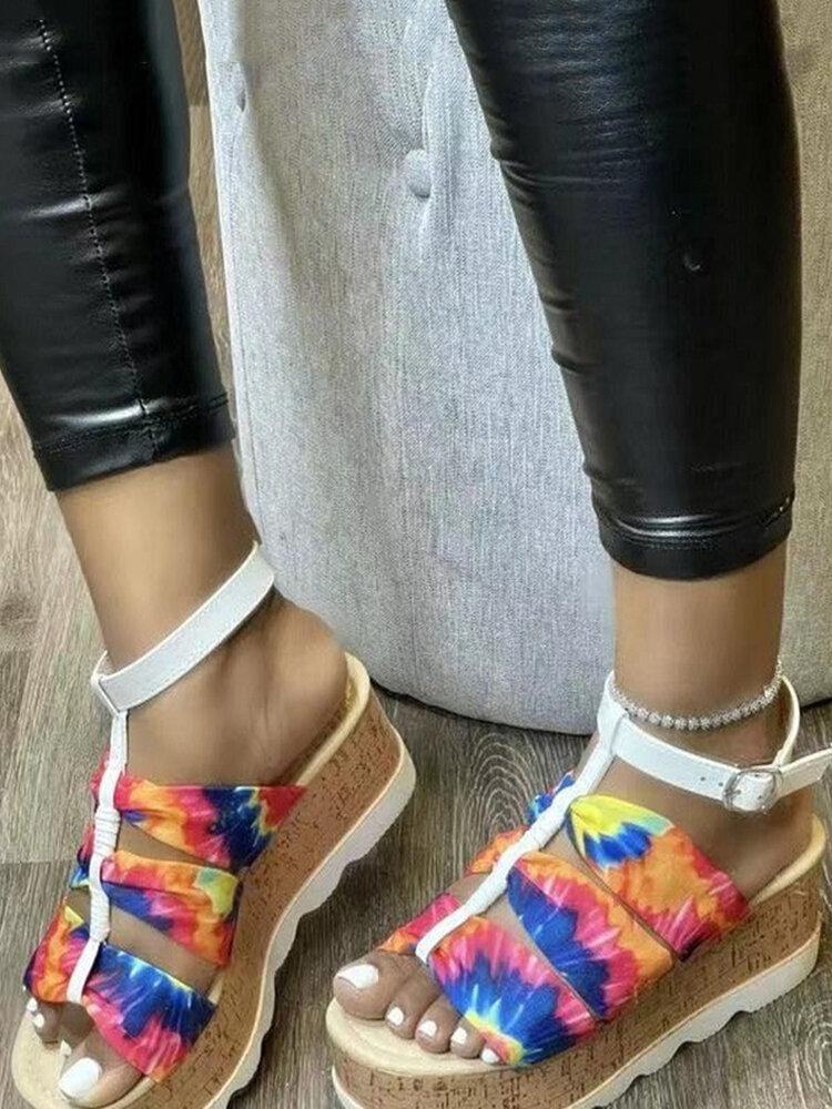 Women European Style Fashion Colorful Ankle Bucklr Strap Backless Beach Platform Sandals