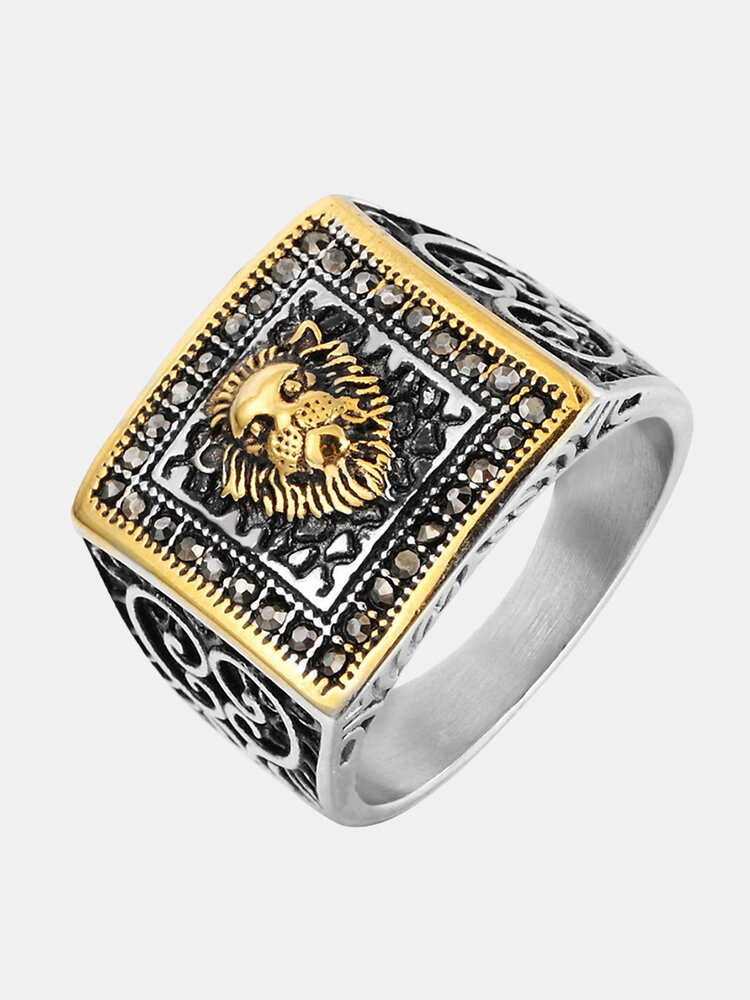 Vintage Finger Rings Lion Head Engraved Pattern Square Stainless Steel Rings Ethnic Jewelry for Men