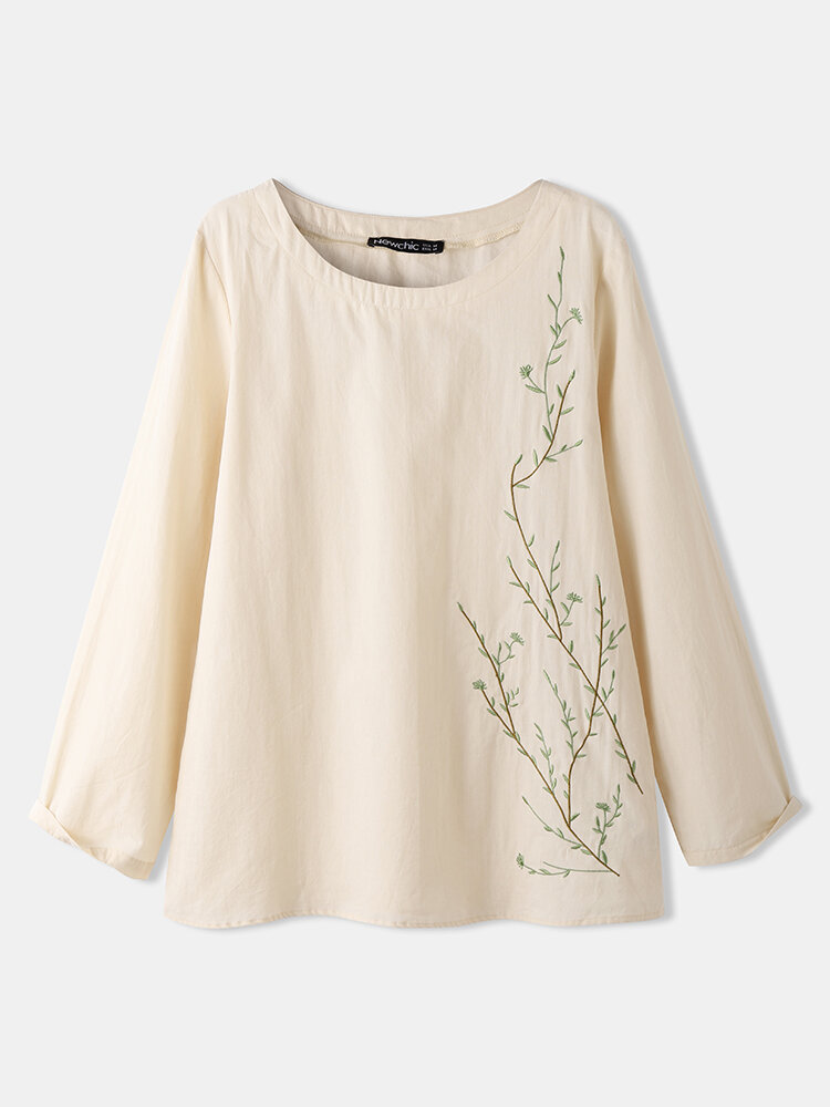 Women Plants Embroidery O-neck Long Sleeve Casual T-shirt