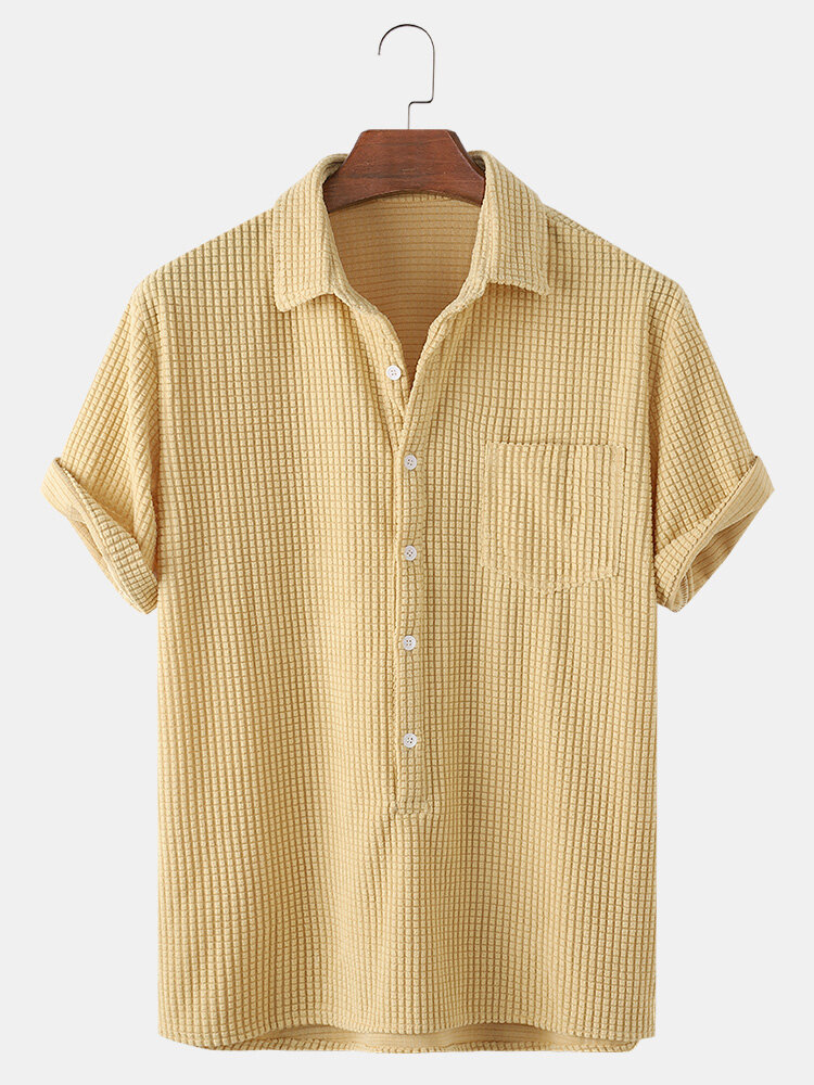 Mens Solid Color Loose Casual Chest Pocket Short Sleeve Henley Shirts