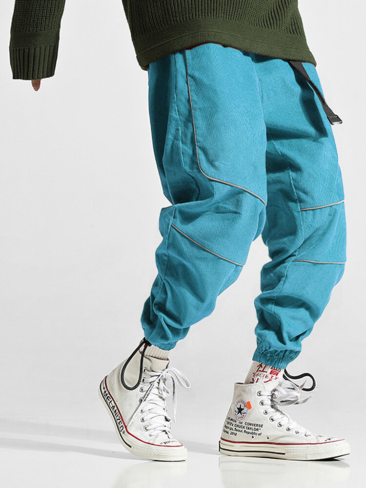 Mens Corduroy Long Outdoor Fashion Casual Jogging Cool Pant with Drawstring