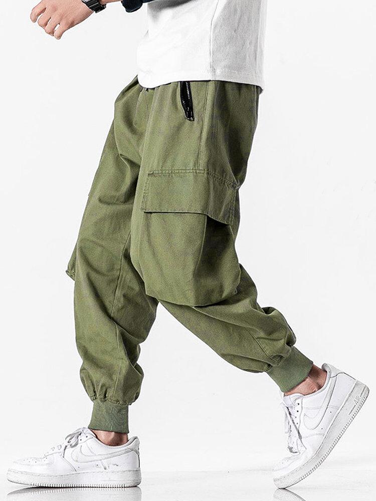 Mens 100% Cotton Utility Solid Color Drawstring Waist Cargo Pants