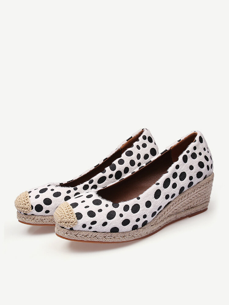 Women Casual Woven Dot Pattern Woven Patchwork Round Toe Wedges Heel Espadrille Laofers Shoes