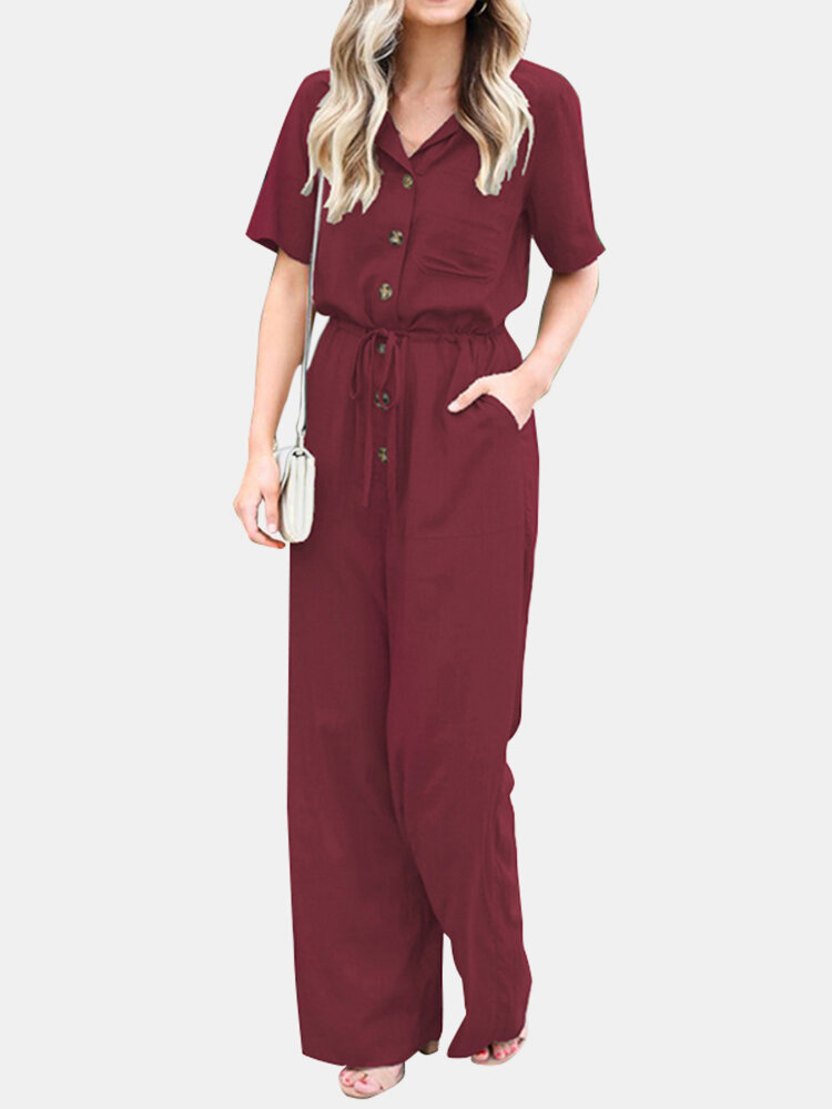 Solid Color Lapel Collar Button Short Sleeve Jumpsuit With Pocket