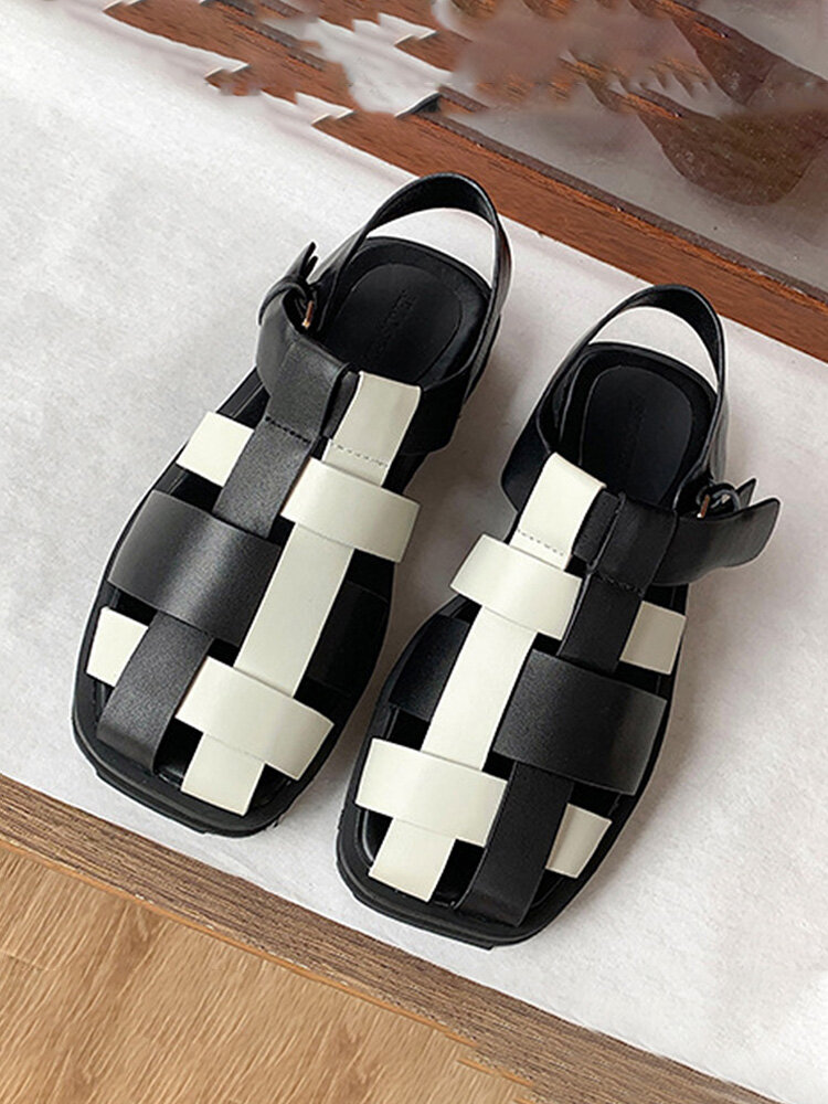 Women Casual Black And White Stitched Weaving Hollow-out Fisherman's Sandals