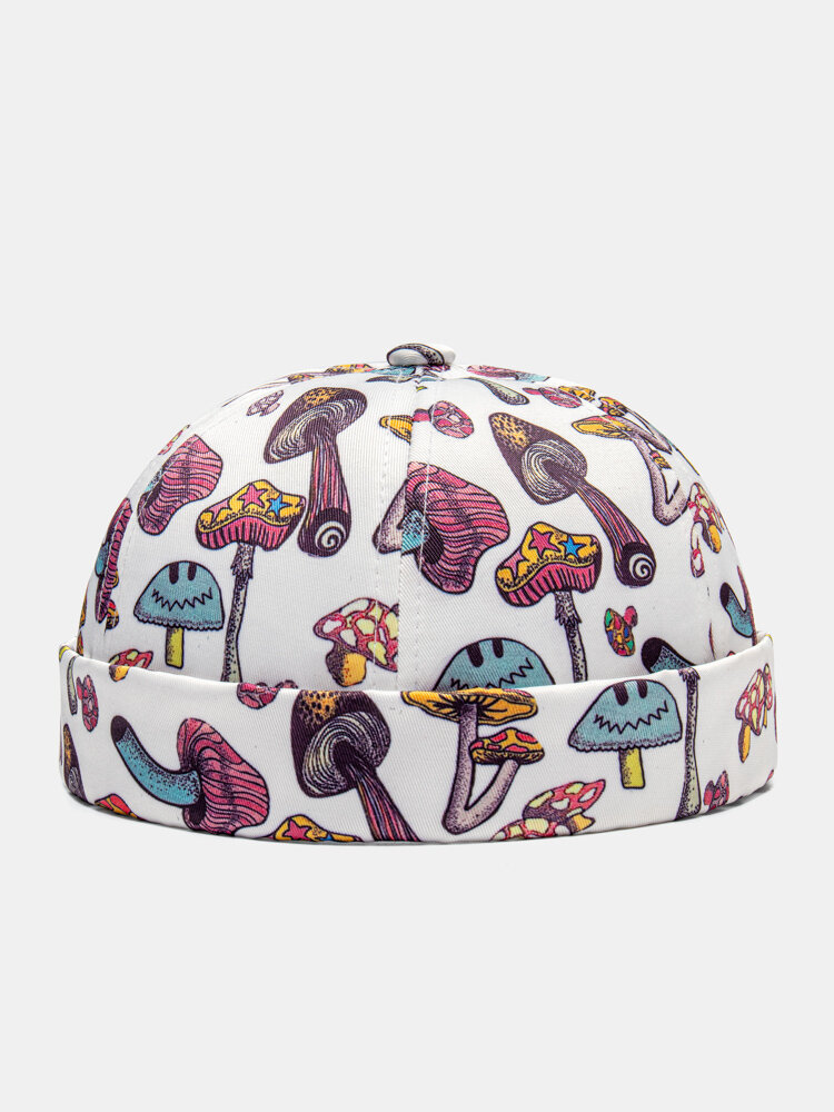 Unisex Mushroom Overlay Pattern Fashion Personality Brimless Beanie Landlord Cap Skull Cap
