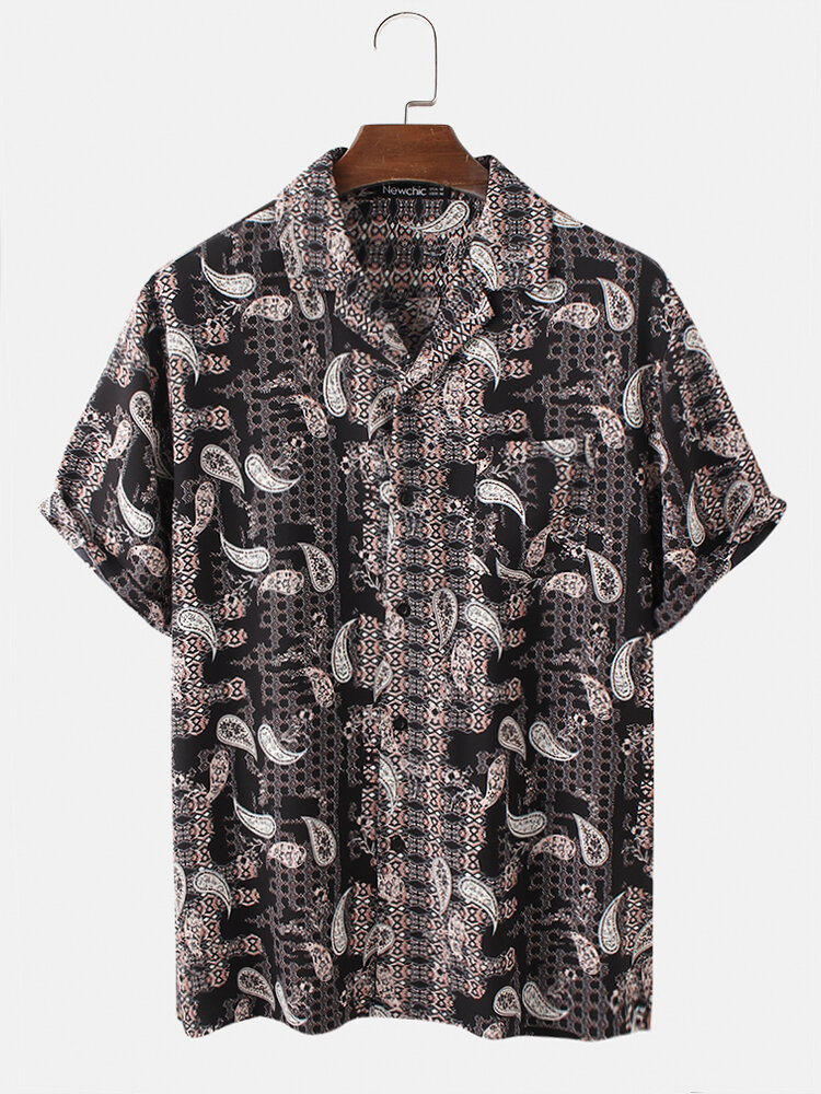Mens Ethnic Paisley Print Revere Collar Holiday See Through Button Down Mesh Sheer Shirt