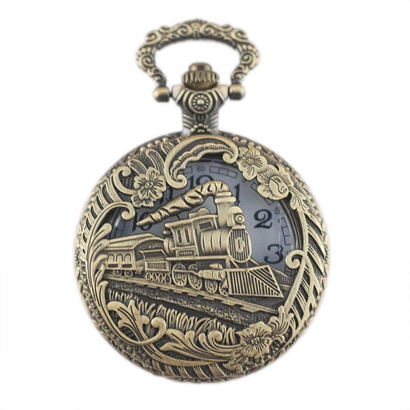 Patrón de tren hueco de Steampunk clásico reloj de bolsillo de cuarzo de cadena de esfera simple clásico
