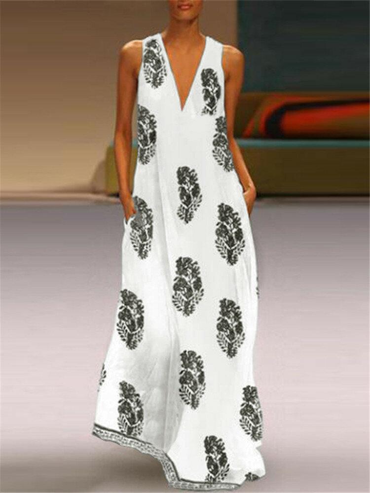 Bohemian Maxi Print Sleeveless V Neck Dress