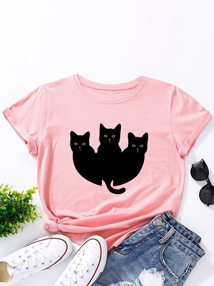 Cartoon Cat Print O-neck Short Sleeve T-shirt For Women