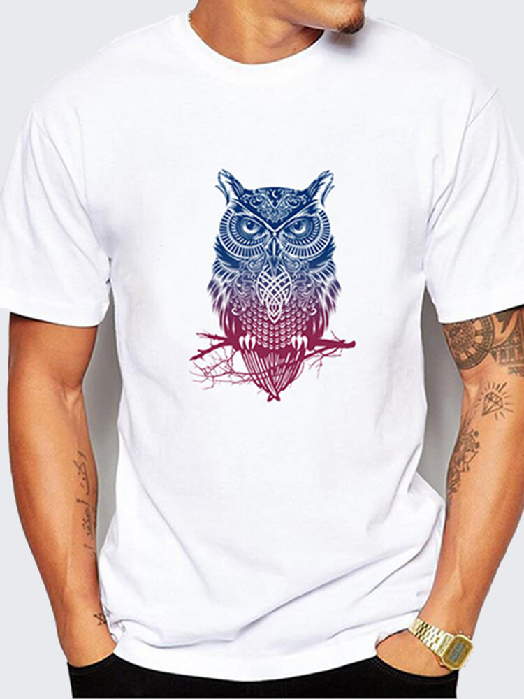 Summer_Casual_Tee_Top_Owl_Printing_Round_Neck_Short_sleeve_Tshirt_for_Men