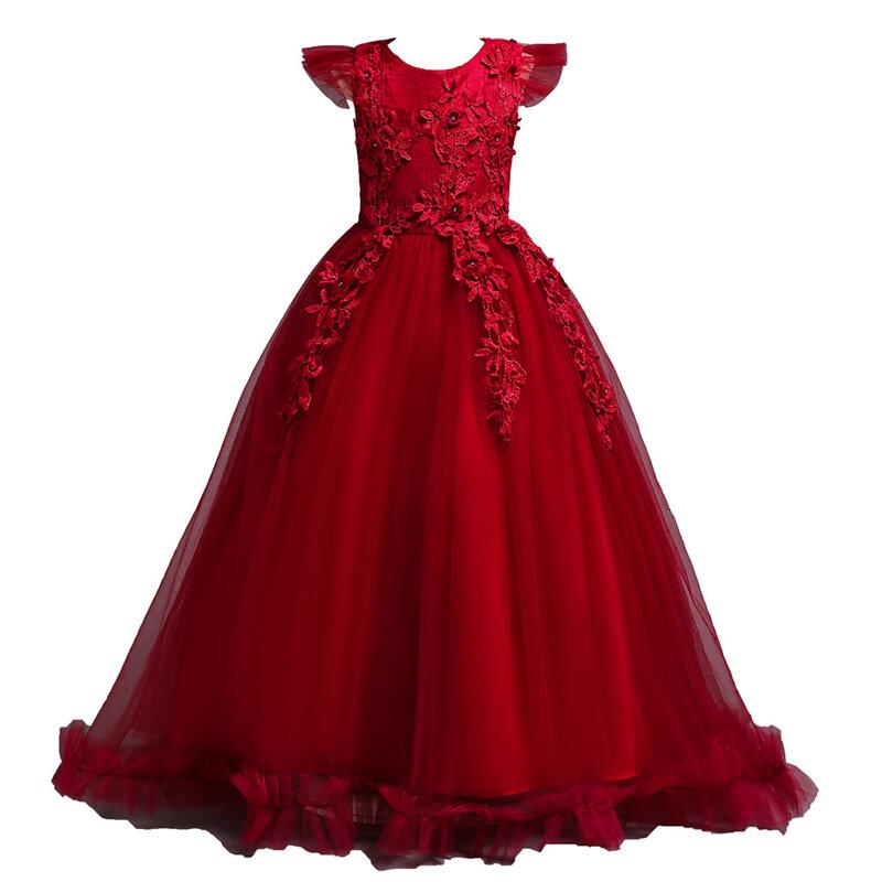花のパッチワークの女の子は6Y-15Yのための空想の正式な王女の服をからかいます