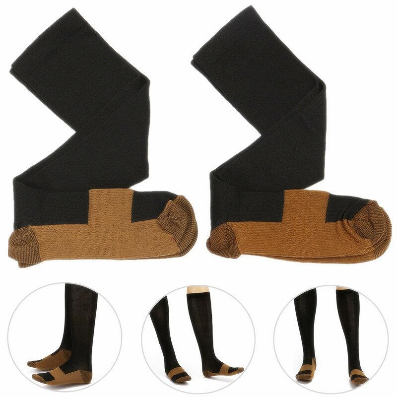 2pcs Unisex Copper Infused Varicose Veins Compression Stock Socks Anti Fatigue