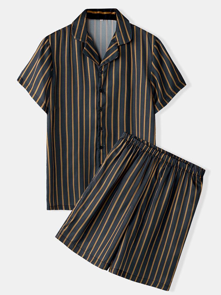 Men Stripe Print Faux Silk Pajamas Set Two Pieces Thin Breathable Casual Loungewear