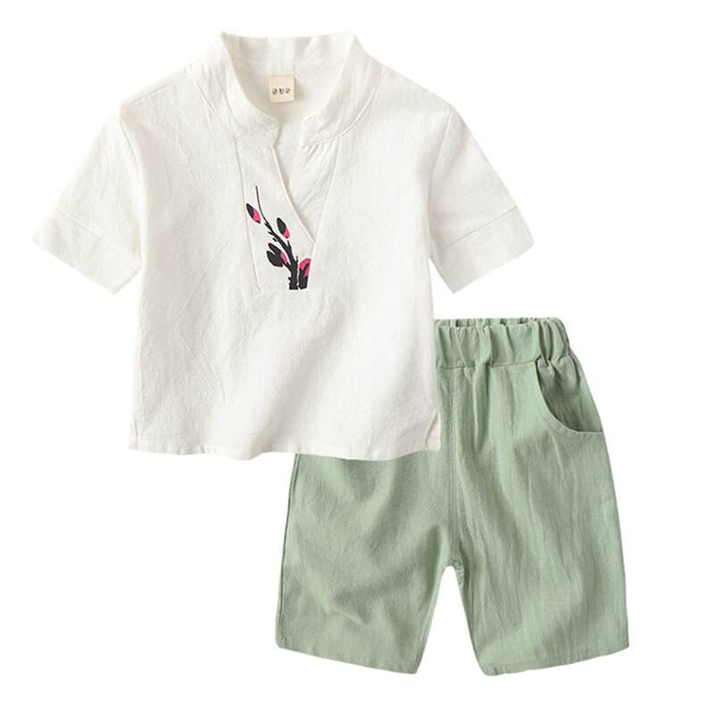 bc920aa7f ... Chinese Style Floral Kids Boys Girls Clothing Set Hanfu Summer Suit For  2Y-11Y. Share Get Coupon