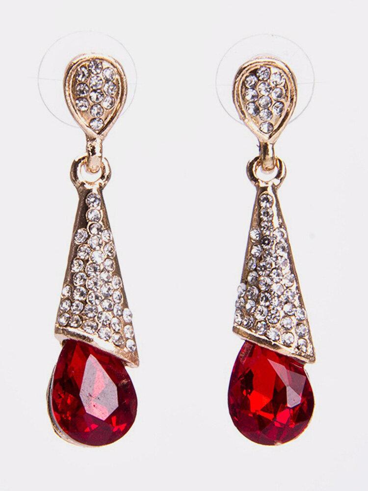 Elegant Ear Drop Earrings Rhinestone Multi Tangent Plane Gemstone Dangle Ethnic Jewelry for Women