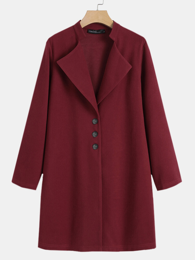 Solid Color Stand Collar Button Long Sleeve Casual Coat For Women