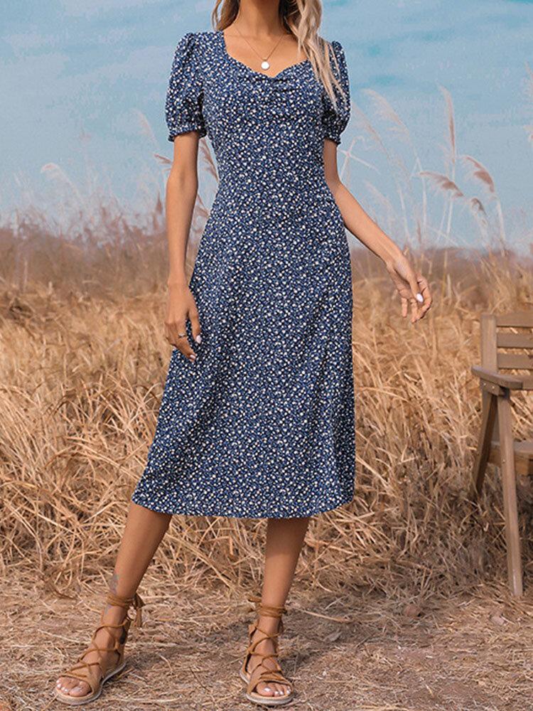 Summer Holiady Robe fendue à manches courtes et imprimé floral pour femmes