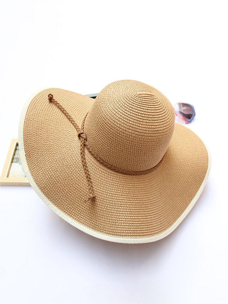 Women Summer Foldable Solid Panama Style Beach Straw Hat Casual Travel Wide Brim Visor Sun Hat