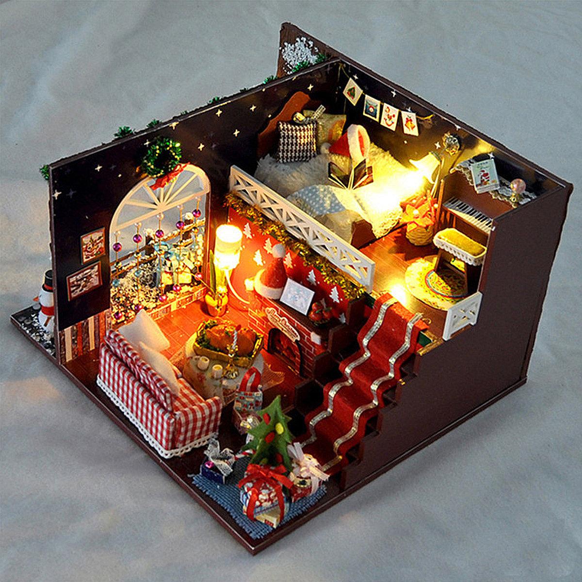 T Yu Diy Kits Maison De Noel Decoration Miniature En Bois Maison De Poupee Jouets Pour Enfants Cadeau Jouet