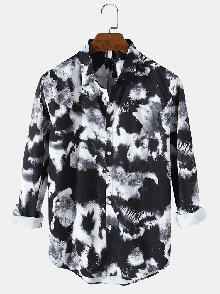 Mens Allover TIe-Dye Print Button Up Casual Lapel Long Sleeve Shirts