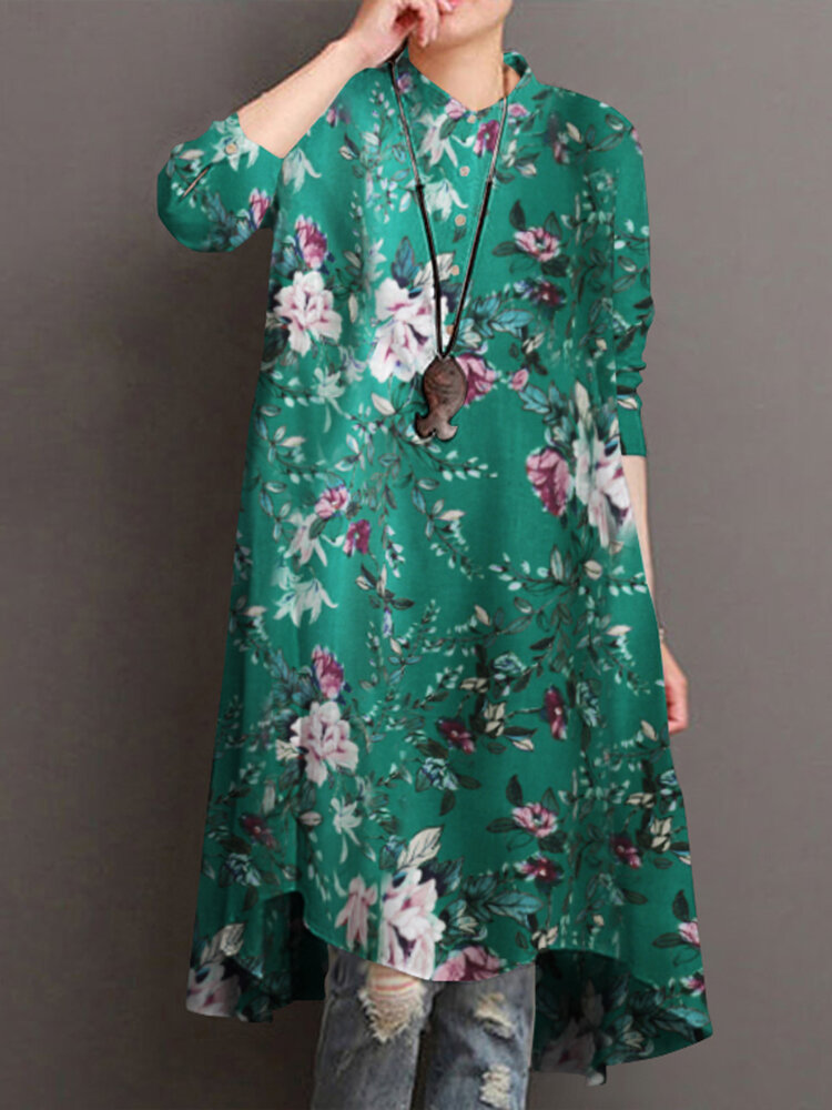 Floral Print Half-collar Casual Dresses for Women