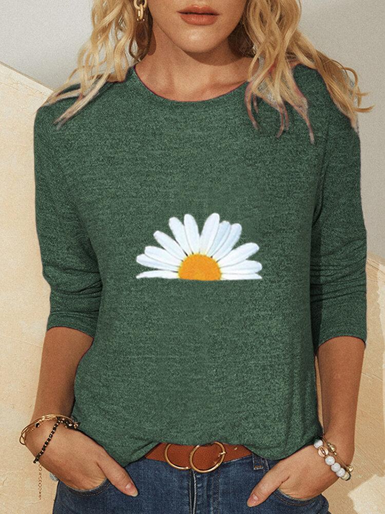 Gänseblümchen Print Langarm Casual T-Shirt Für Damen