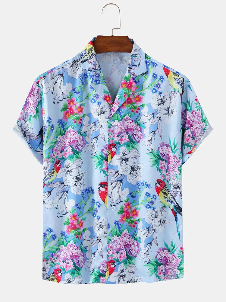 Mens Floral & Birds Print Casual Breathable Summer Short Sleeve Shirts