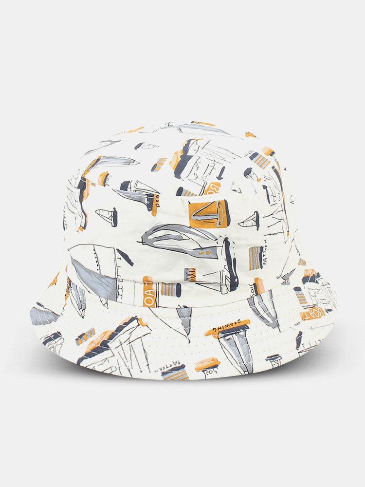 Unisex Cotton Double-sided Wearable Sailboat Graffiti Pattern Outdoor Sunshade Bucket Hat