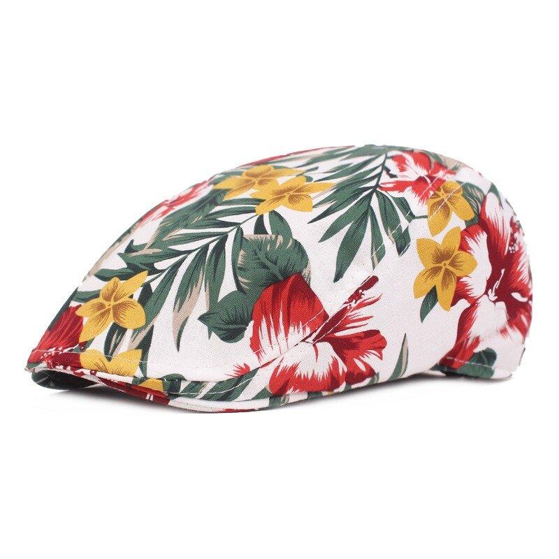 Women Flower Print Vogue Cotton Beret Hat Outdoor Casual Sunshade Peaked Forward Cap