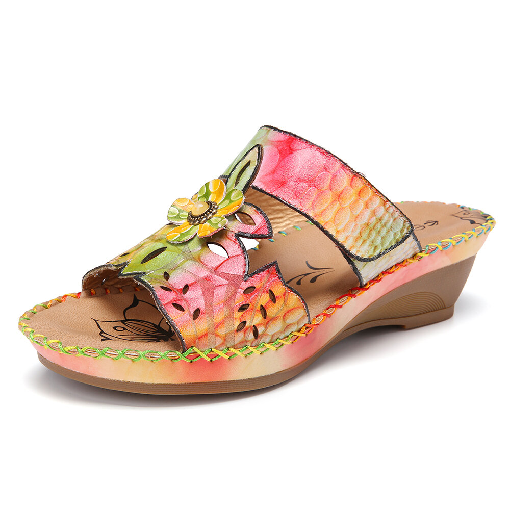 SOCOFY Retro Leather Contrast Floral Stitching Slip on Wedge Slides Sandals