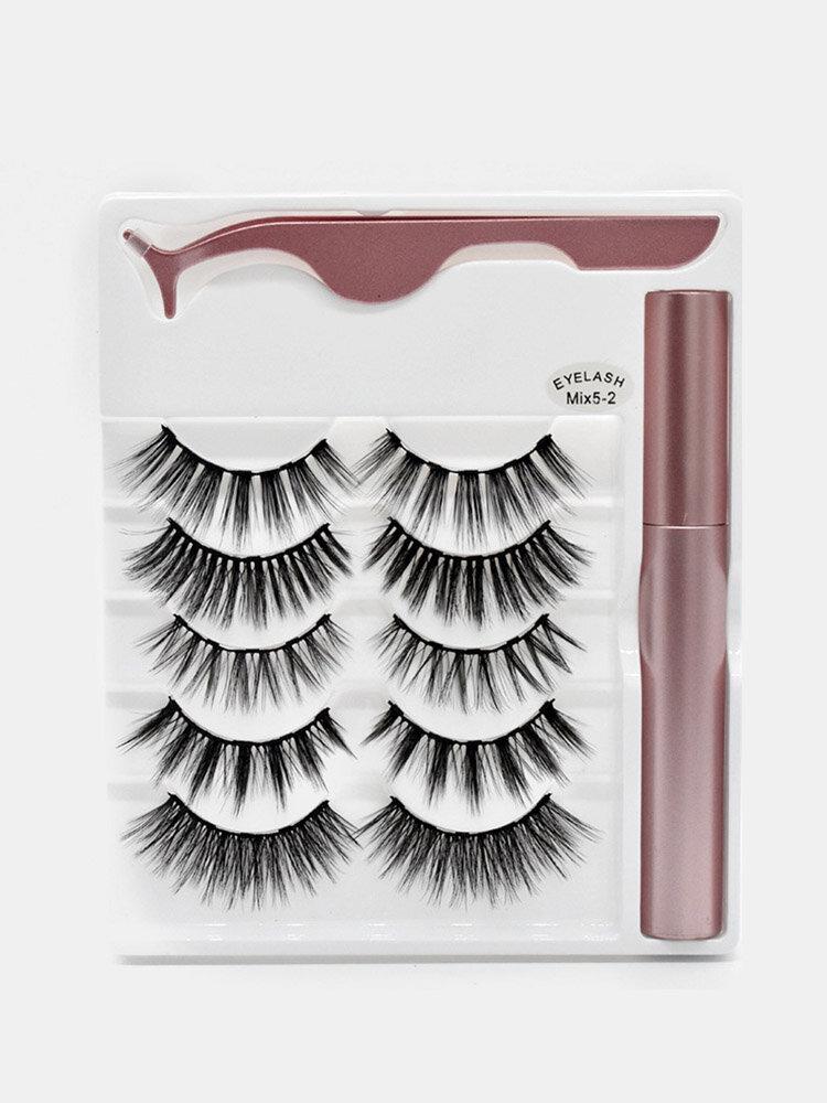 5 Pairs Magnetic False Eyelashes Magnetic Liquid Eyeliner Set Magnets Natural Eyelashes Extension Lasting Magnetic Makeup