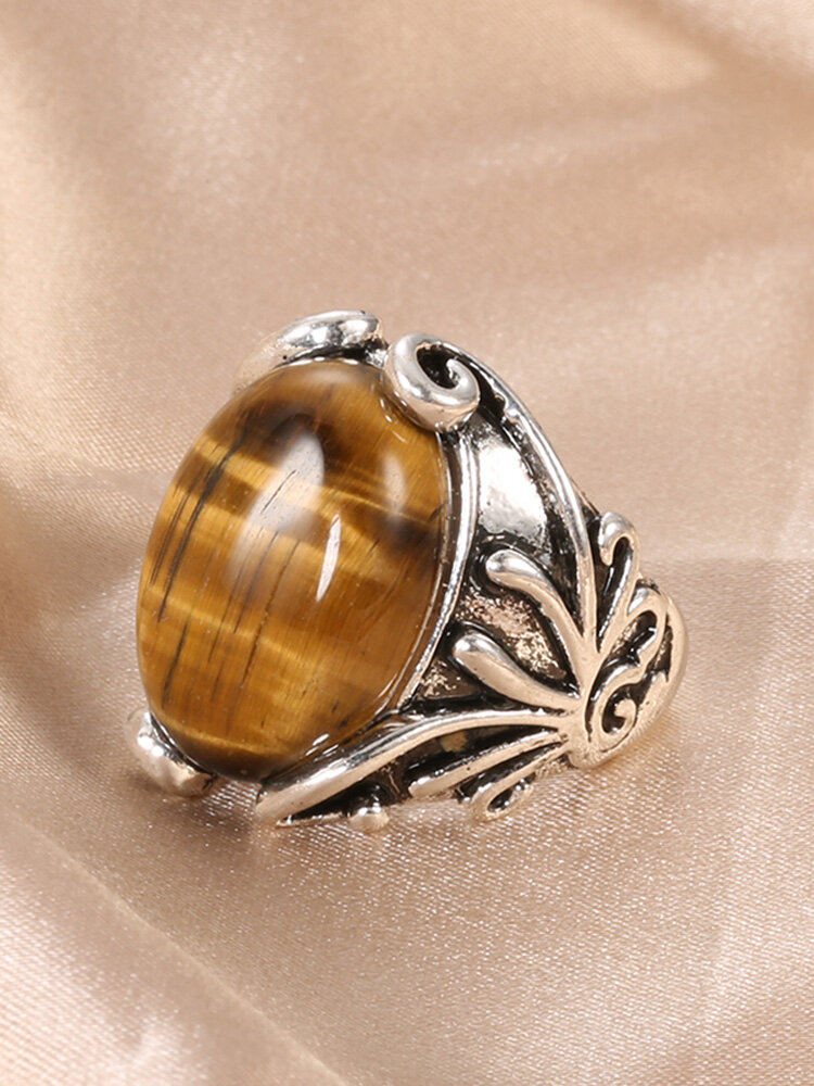 Vintage Natural Stone Ring Ancient Silver Carved Tiger Eye Stone Finger Ring