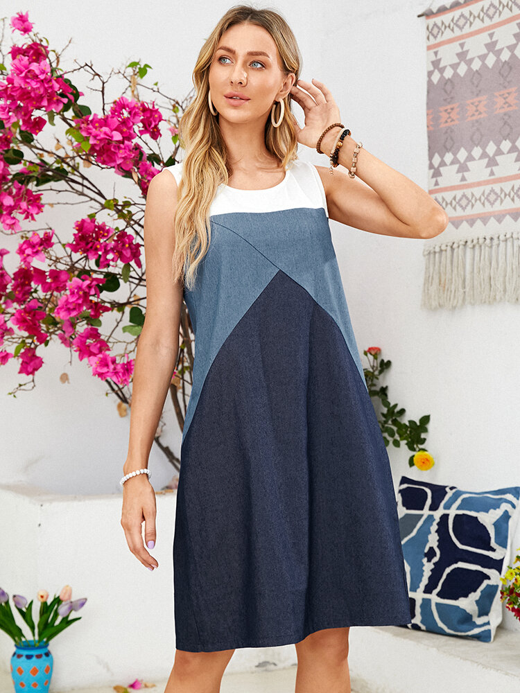 Solid Color Patchwork O-neck Sleeveless Pocket Casual Dress for Women