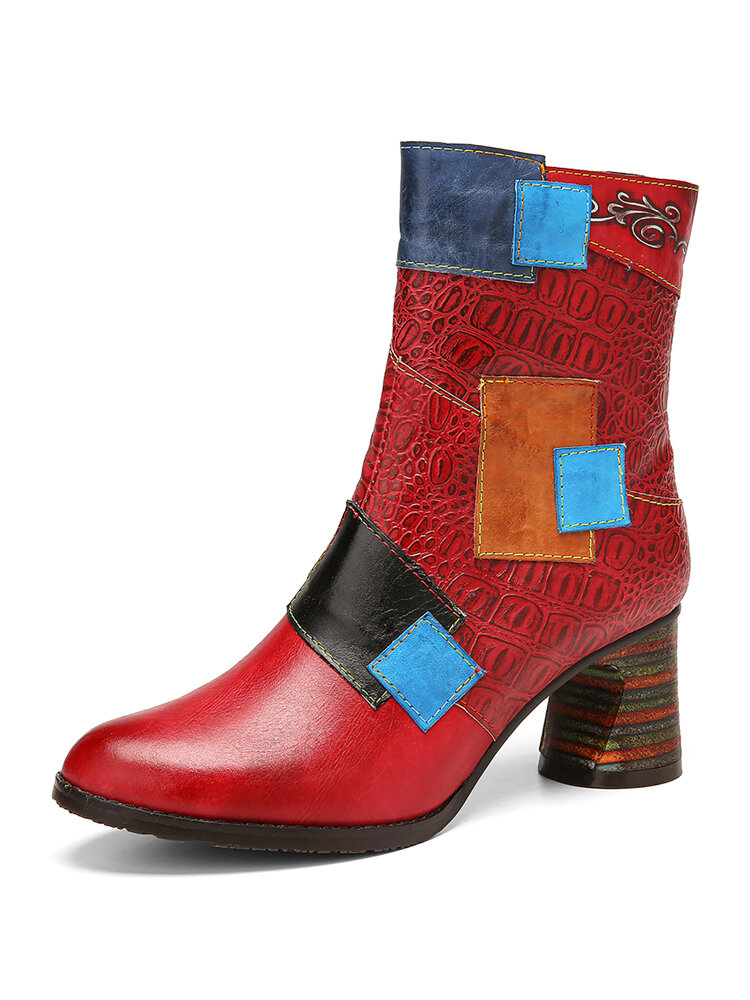 SOCOFY ColorBlock Embossed Leather Comfy Wearable Side Zipper Chunky Heel Short Boots
