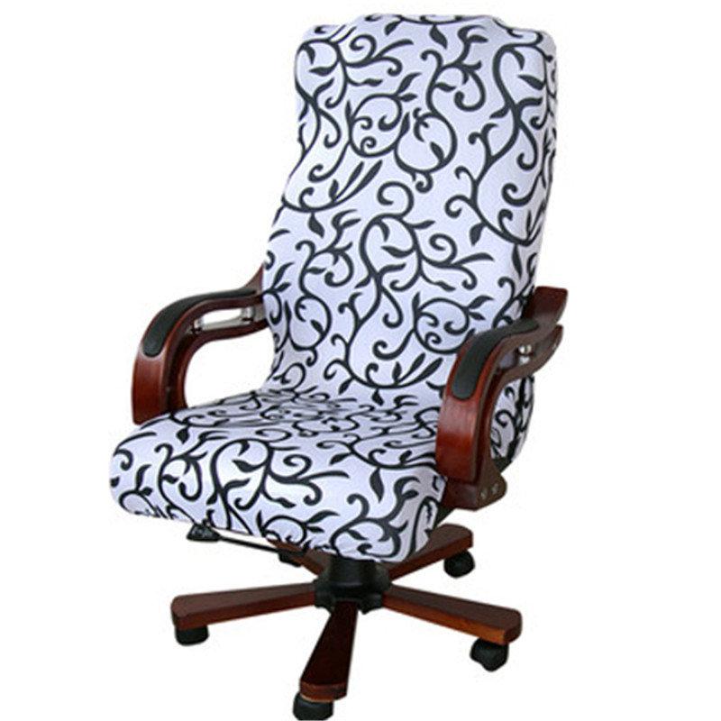 Elegant Office Computer Chair Cover Side Zipper Design Arm Elastic Chair Slipcover Decor