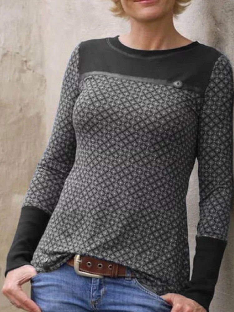 Casual Plaid Patchwork O-neck Long Sleeve T-shirt